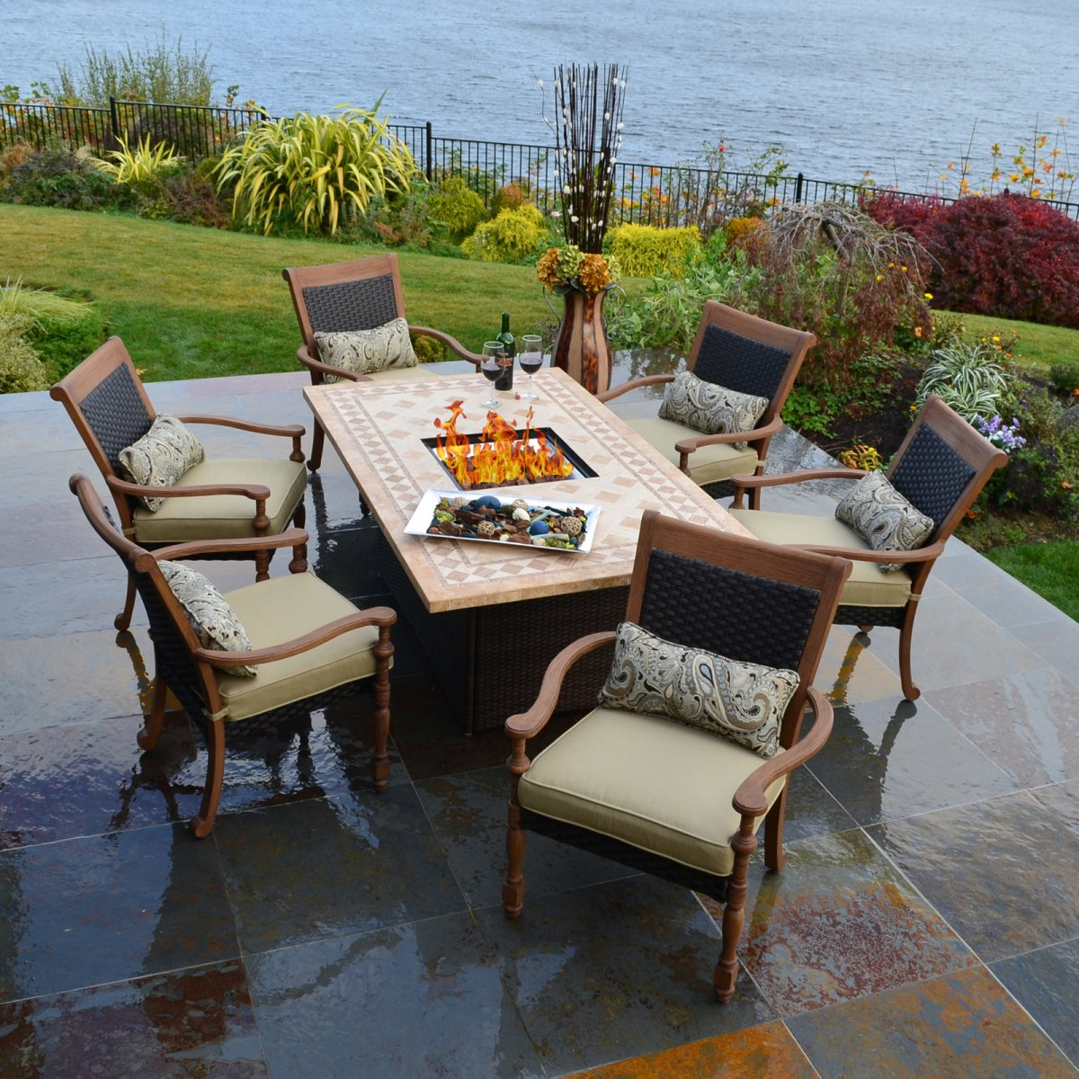 Patio dining table with fire pit fireplace design ideas for Used patio dining sets