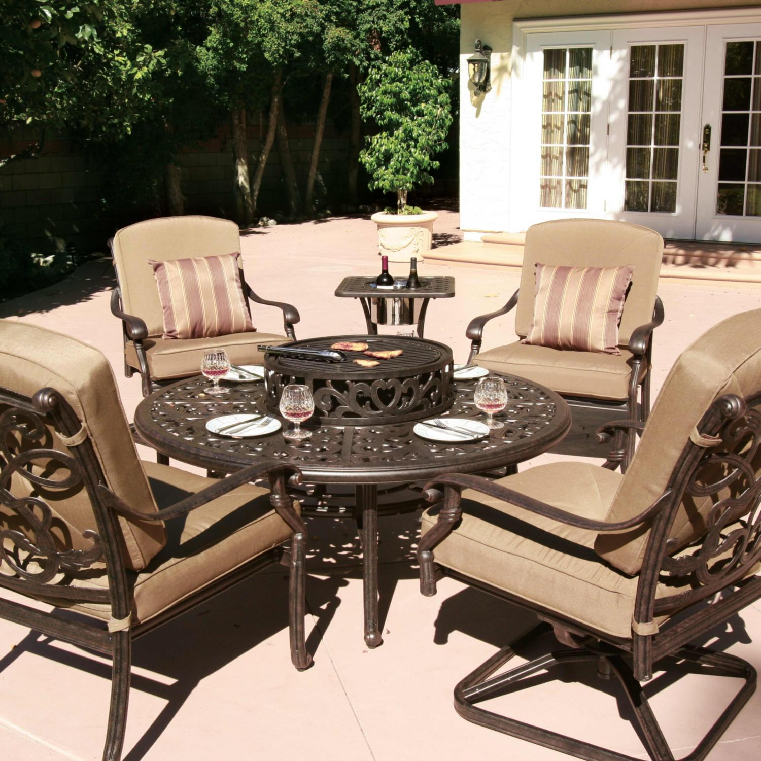 Patio furniture sets with fire pit roselawnlutheran for Terrace furniture