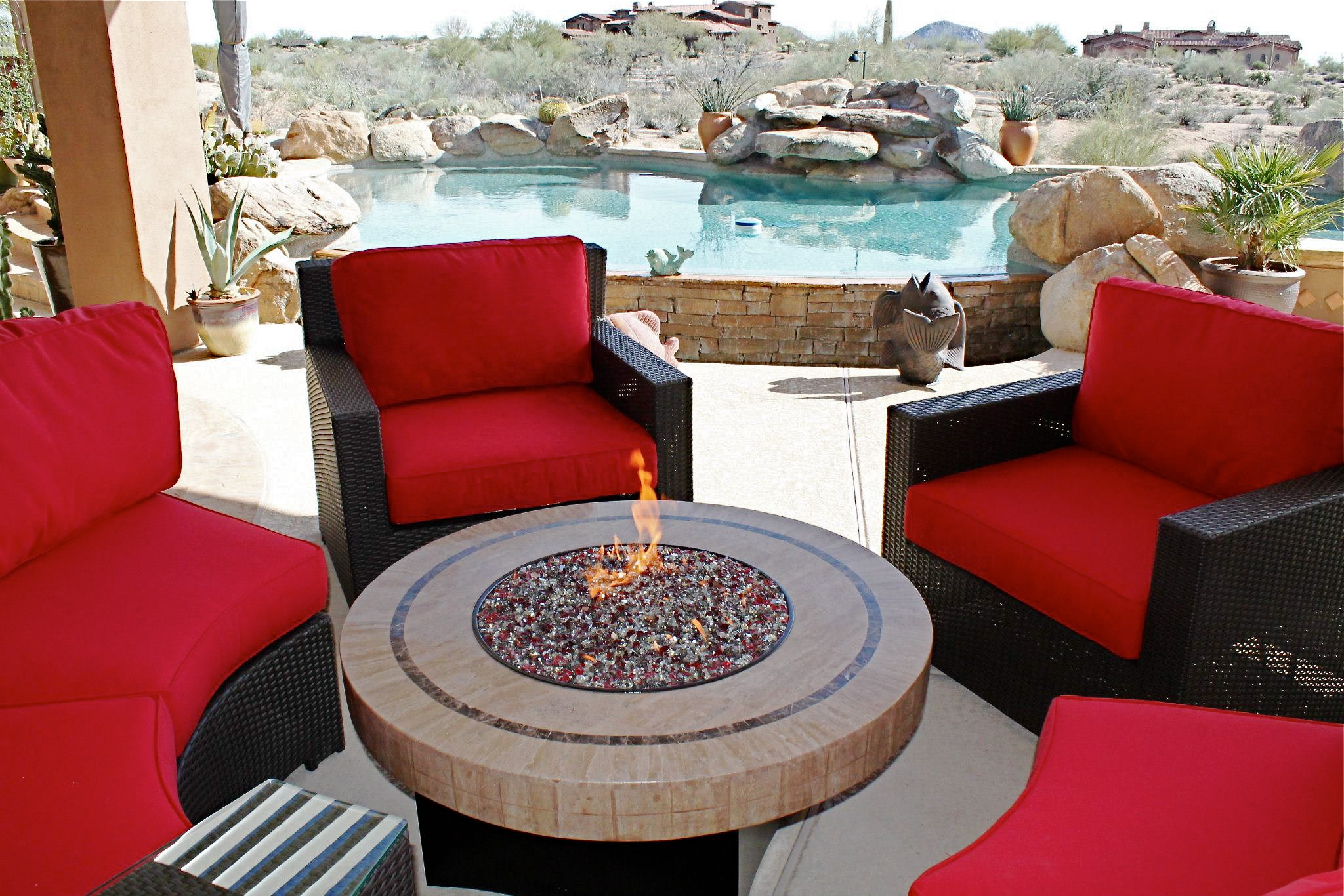 Patio furniture set with fire pit fireplace design ideas for Patio furniture pictures ideas