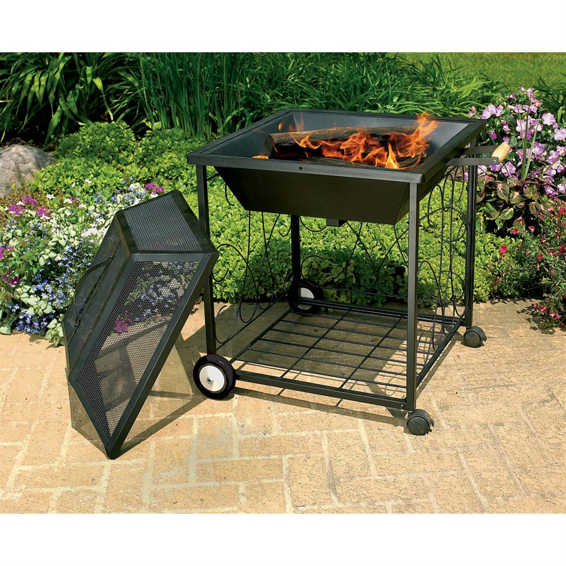 Portable Outdoor Fire Pit With Wheels Fireplace Design Ideas