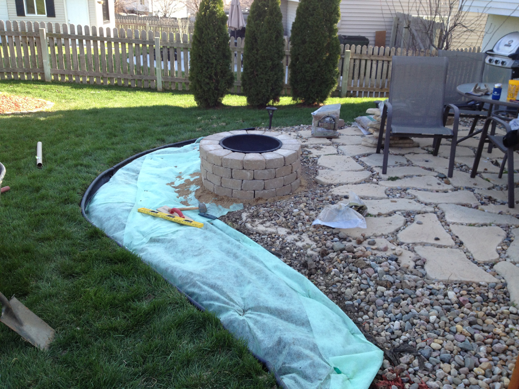 River rock fire pit fireplace design ideas for Laying river rock