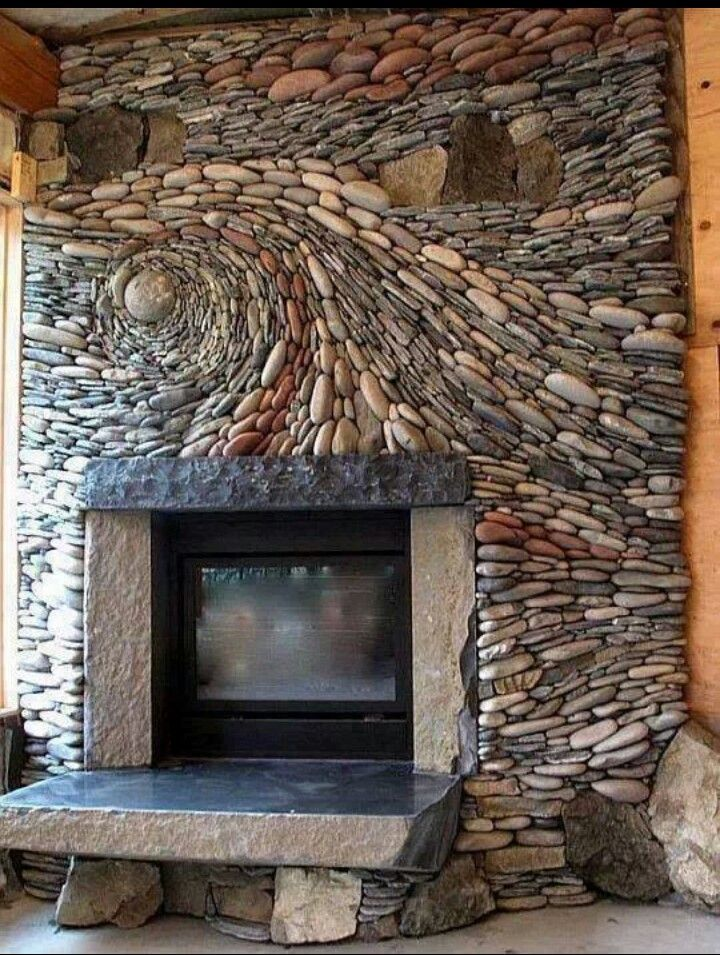 River Rock Fireplace | FIREPLACE DESIGN IDEAS