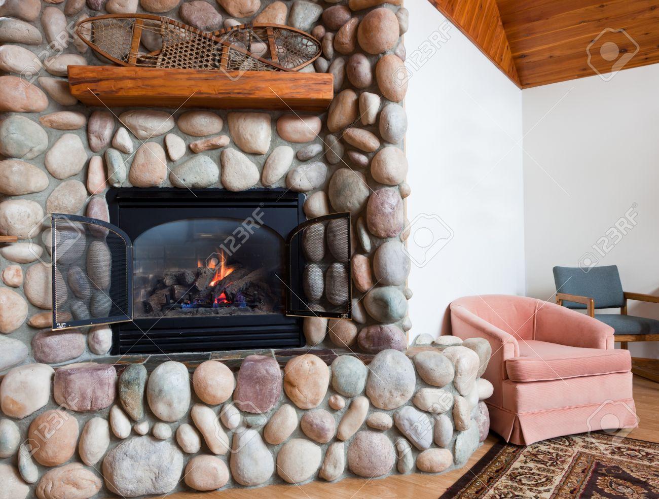 River Rock Gas Fireplace FIREPLACE DESIGN IDEAS