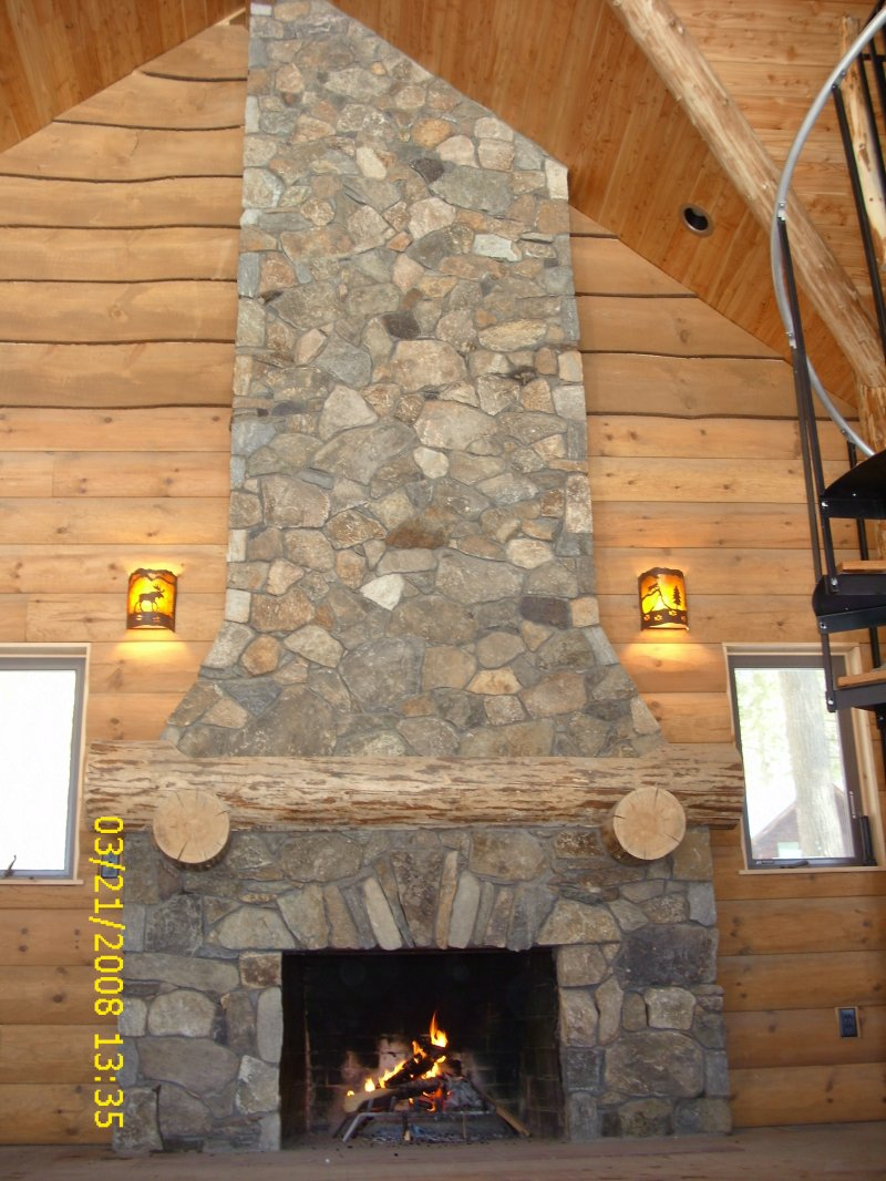 River Rock Veneer Fireplace