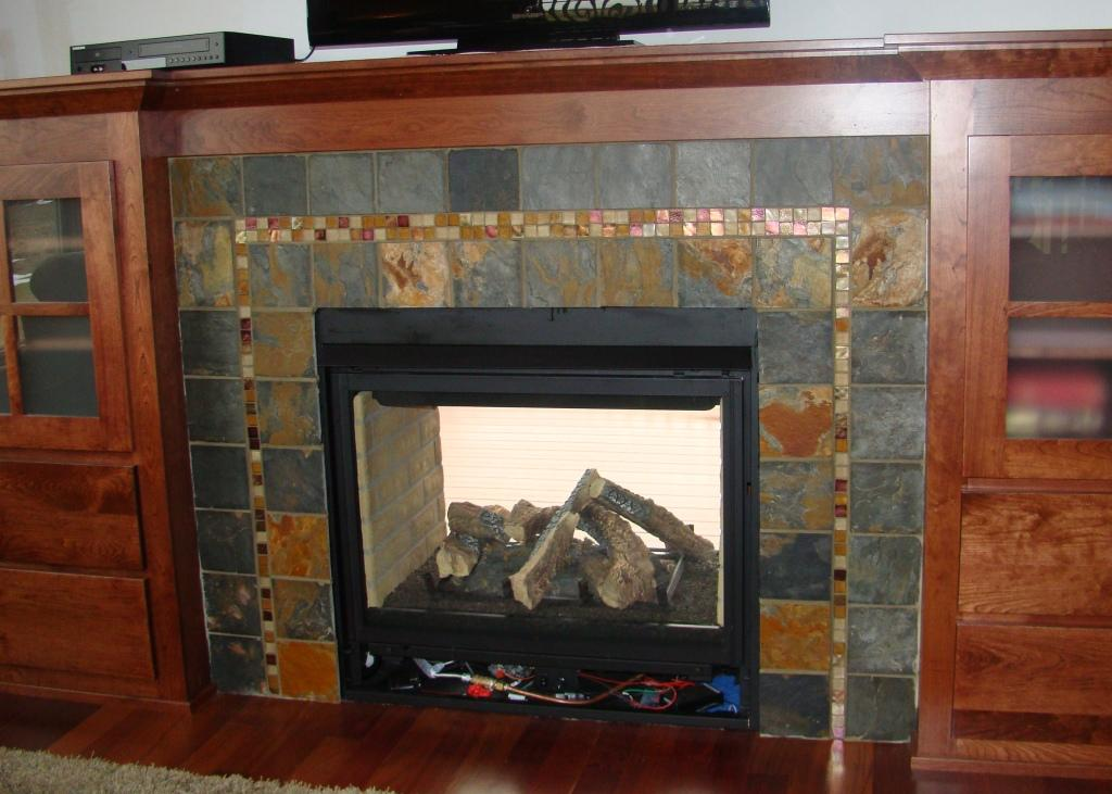 Delicieux Slate Tile Fireplace Surround