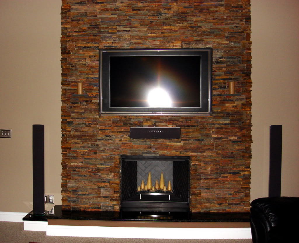 Stack Stone Fireplace Designs