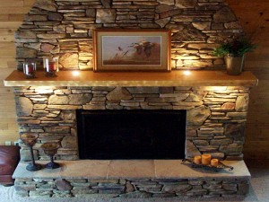 Stack Stone Fireplace Mantels