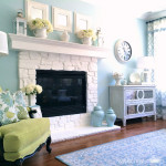 Stone Fireplace Painted White