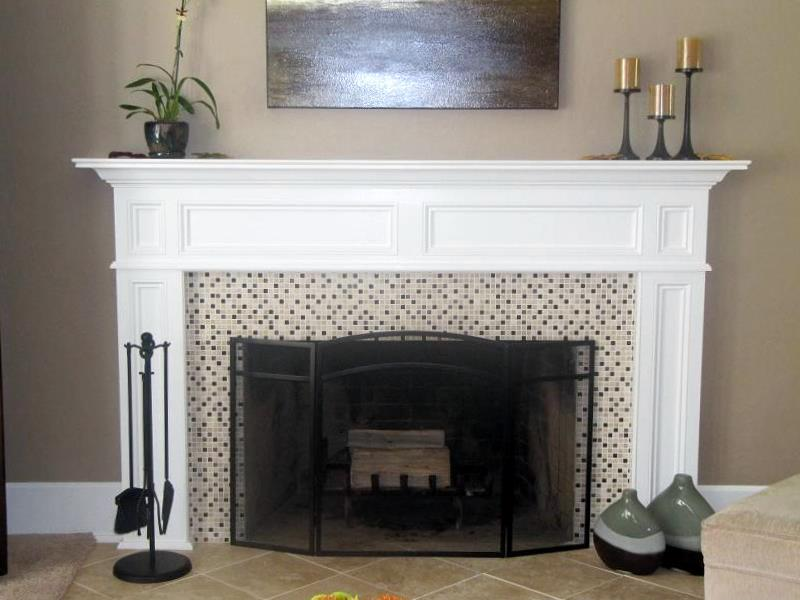Stone Fireplace White Mantle