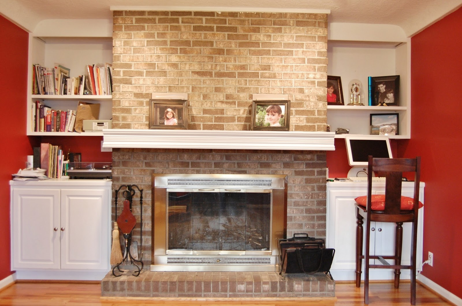 Stone Fireplace with White Mantle