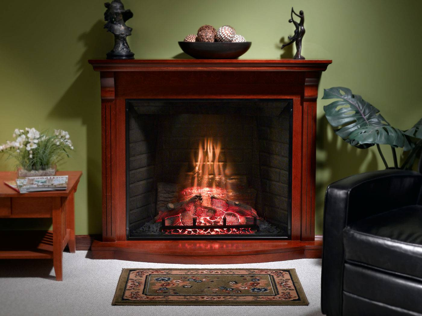 Stone Front Electric Fireplace