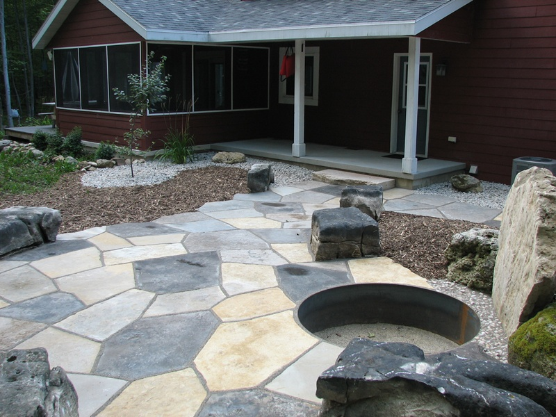 Beautiful Stone Patio With Fire Pit