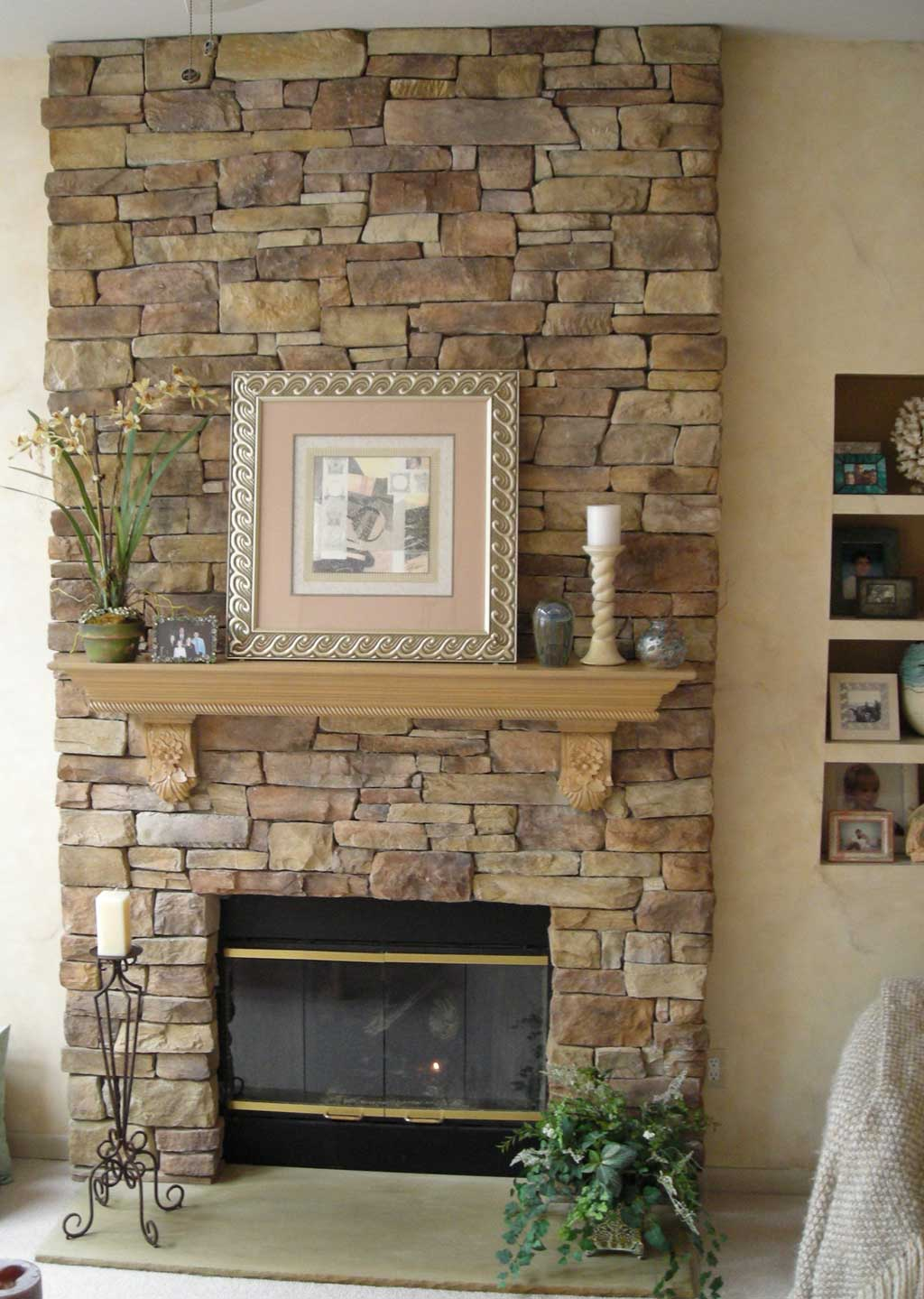 Stone Veneer Fireplace Design