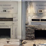 Stone Veneer Fireplace Installation