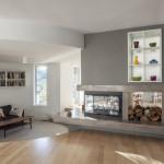 Three Sided Fireplace Design