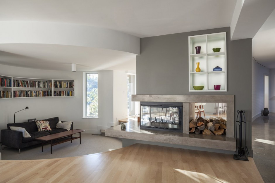 Three Sided Fireplace Design
