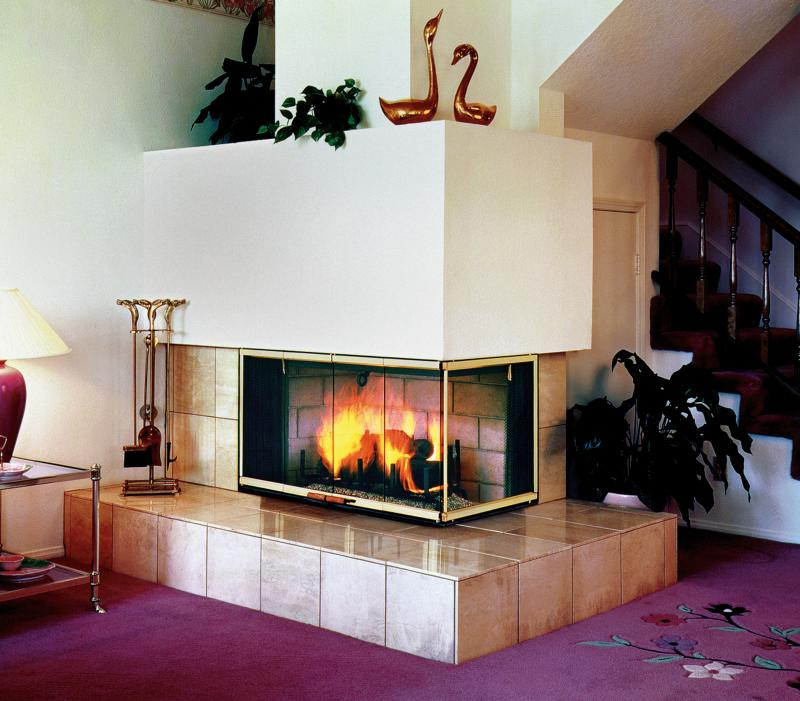 Three Sided Fireplace Wood Burning