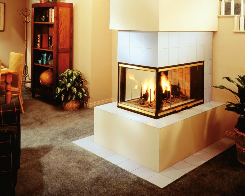 Three Sided Wood Burning Fireplace