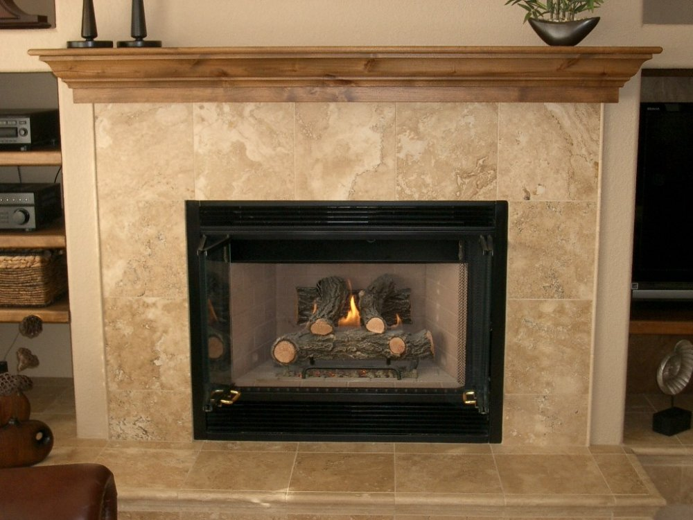 Travertine Tile Fireplace Surround