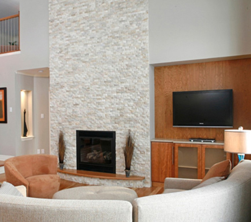 White Stacked Stone Fireplace Fireplace Design Ideas