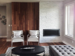 White Stone Tile Fireplace
