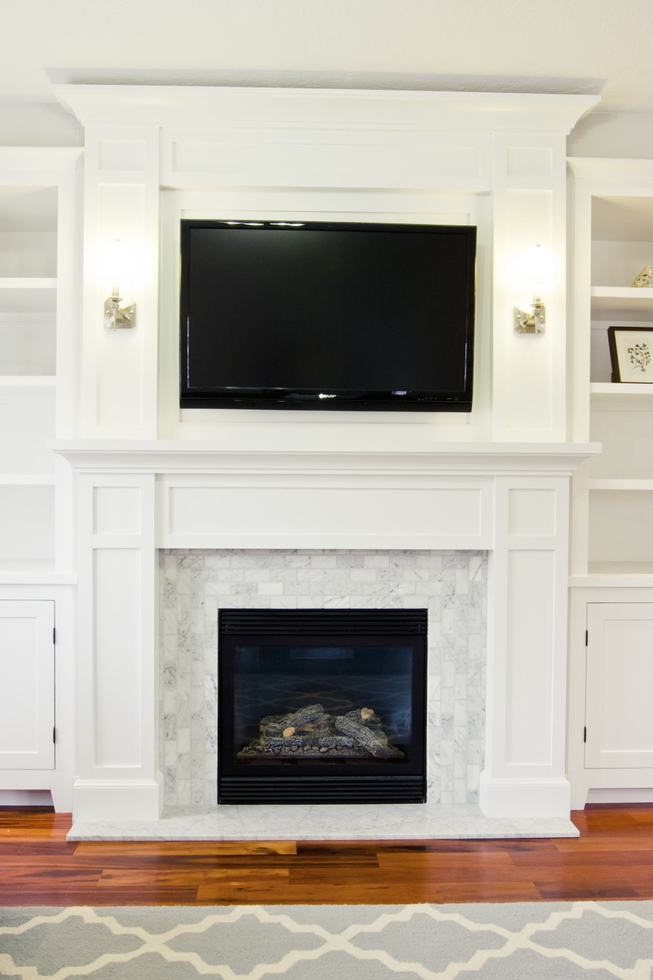 White tile fireplace surround fireplace design ideas for Wood fireplace surround designs