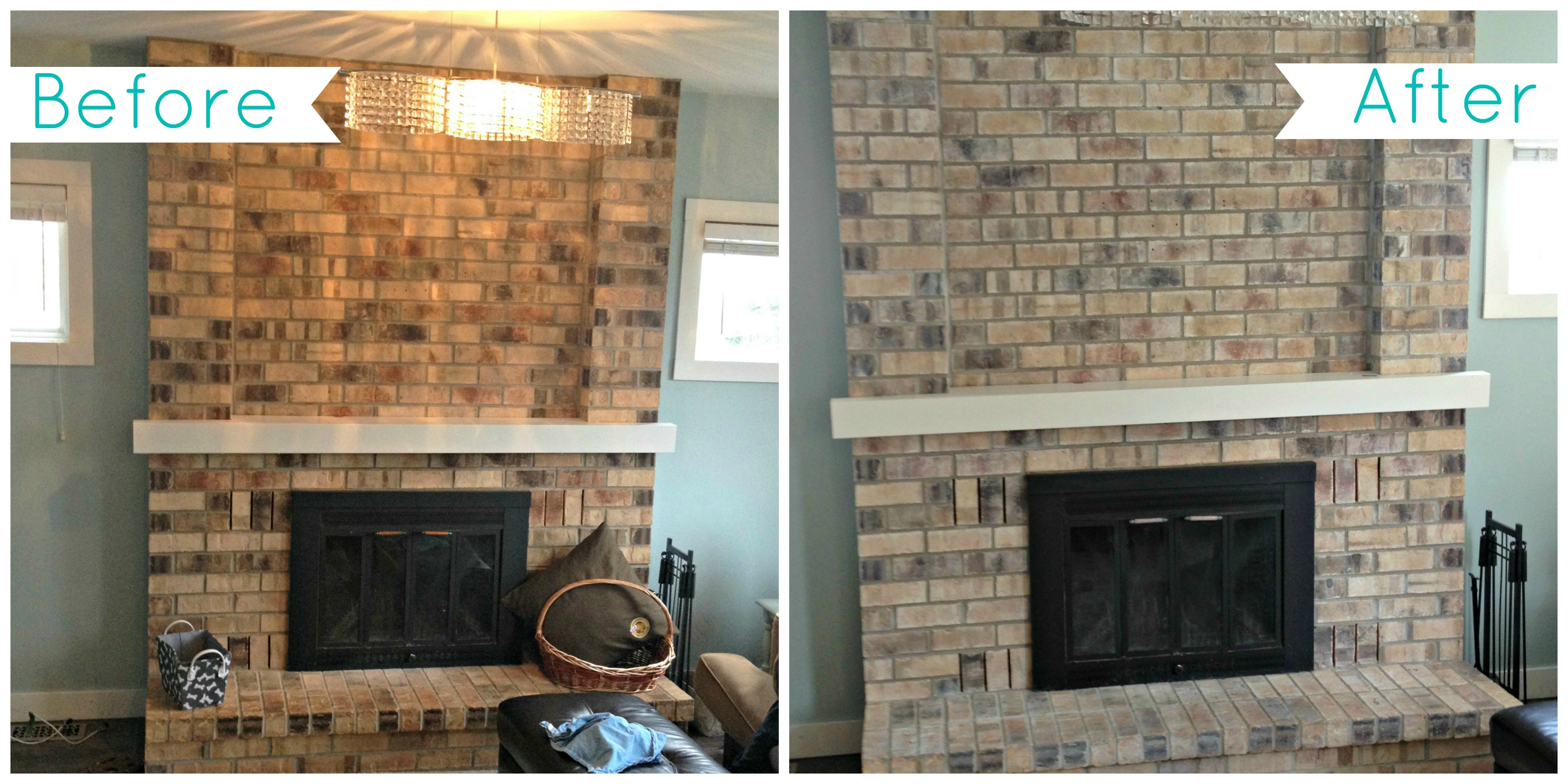 Whitewash Brick Fireplace Before And After Fireplace Design Ideas