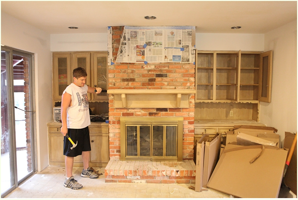 Whitewash Brick Fireplace with Lime