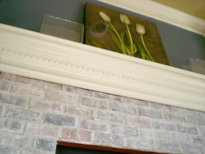 Whitewash Red Brick Fireplace