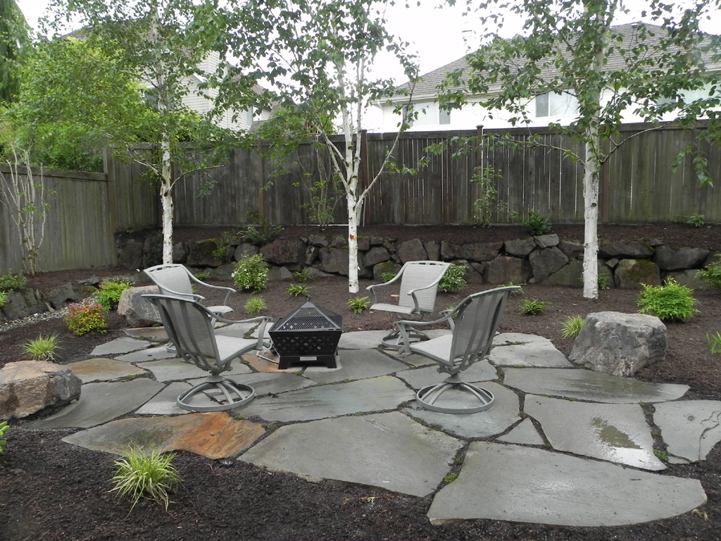 Backyard fire pit landscaping ideas fireplace design ideas for Pics of landscaped backyards