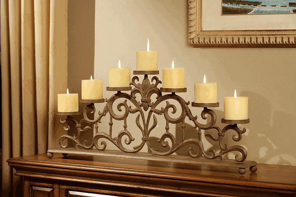 The fireplace candle holders