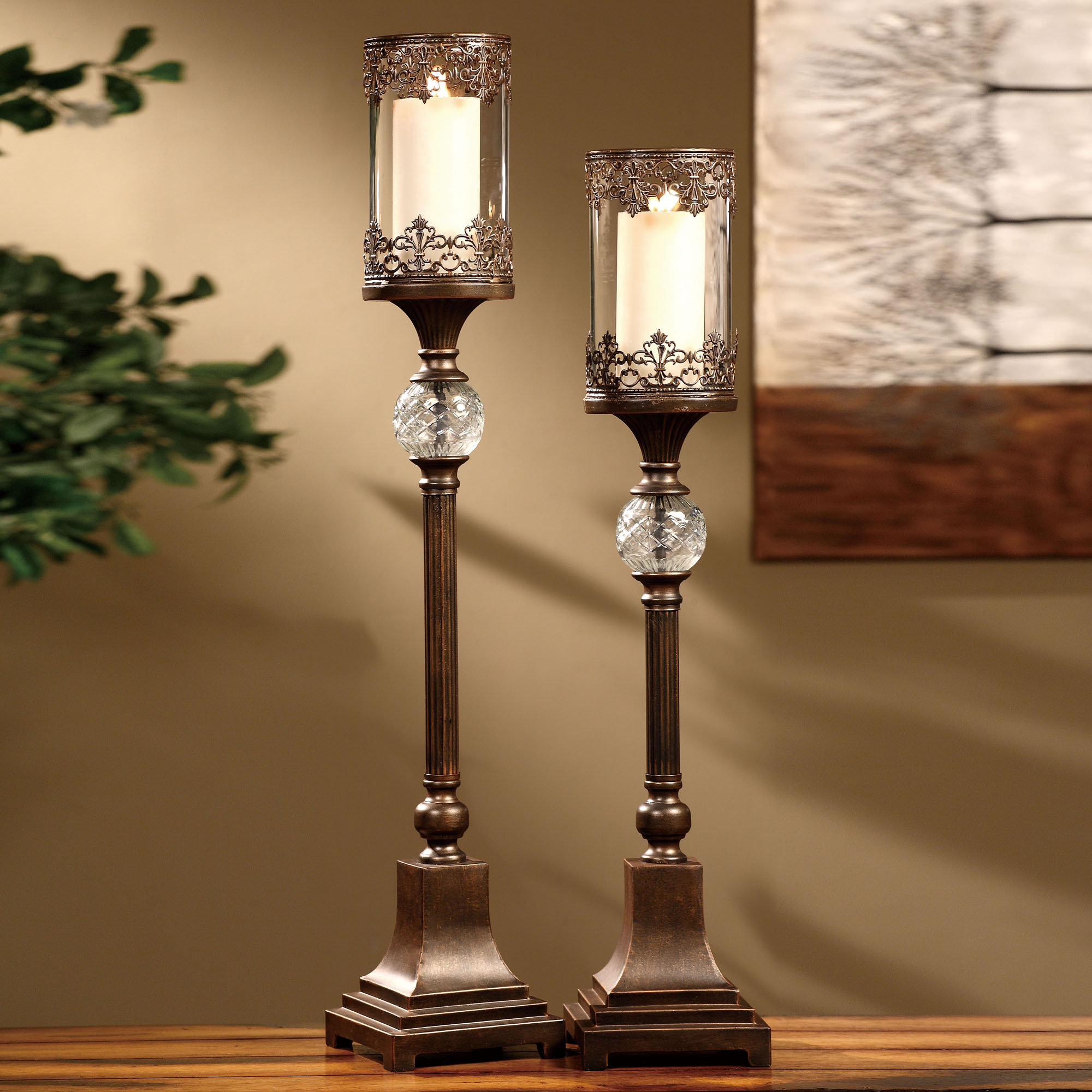 Pillar Candle Holders for Fireplace