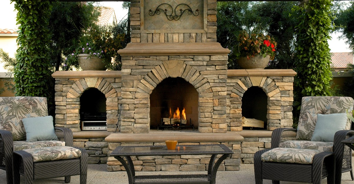 Outdoor Stone Fireplace Makes Your Garden A Cozy Place FIREPLACE Enchanting Garden Fireplace Design Image